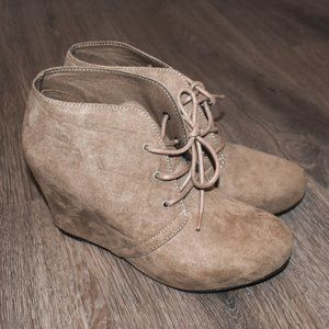 Tan Lace-Up Heeled Booties Size 8